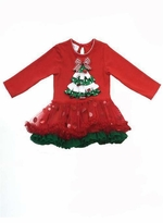 Girls Holiday Dress : Red Christmas Tree Girls Tutu Dress