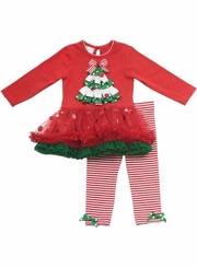 Girl's Christmas Outfits : Red Christmas Tree Organza Tutu Legging Set