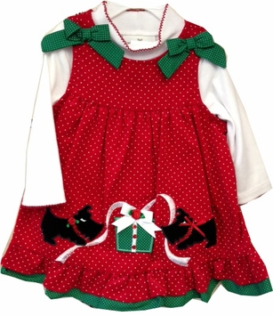 Rare Editions Red Corduroy Puppy Present Dress