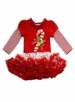 Girls Christmas Dress Tutu Red Candy Cane Christmas
