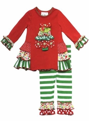 Girl's Christmas Outfits : Red Christmas Tree Ruffle Legging Set