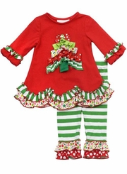 Rare Editions - Pleated Christmas Trees Girl's Holiday Legging Set