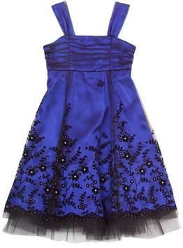 Rare Editions Royal and Black Flock Border Dress SOLD OUT