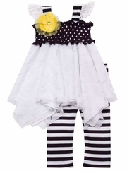 Rare Editions - Toddler  Girls Smocked Lace Dot Legging Set  FINAL SALE!
