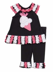 Rare Editions Spring - Black/ Fuchsia Ice Cream Applique Ruffle Legging Set