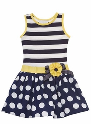 Rare Editions Stripe Bodice Yellow Trim Dot Dress -sold out