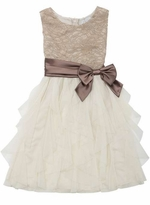 Rare Editions Taupe Lace Cascade Special Occasion Dress - sold out