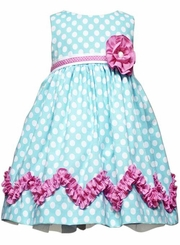 Rare Editions - Teal Polka Dot Dress 2T  LAST ONE FINAL SALE