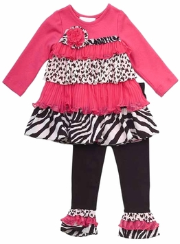 Rare Editions Tiered Zebra Ruffled Pant Set Girls Size SALE