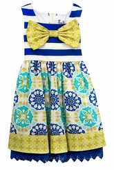 Rare Editions Toddler Girls Royal Lace Vintage Print Bow Dress