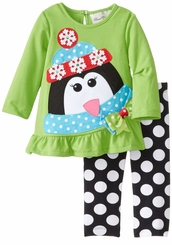 Rare Editions Toddler Girls Winter Holiday Penguin Set