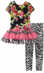 Rare Editions Girls Clothes - Zebra Legging Set
