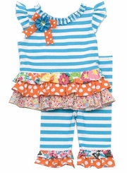 Rare Editions Toddler Turquoise Stripe Legging Set 2T - 4T