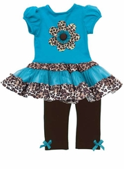 Infant Girls Turquoise Cheetah Legging Set  FINAL SALE
