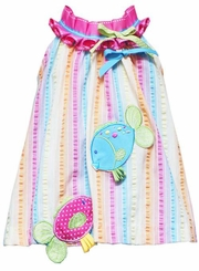 Rare Editions Turquoise/ Fuchsia Striped Dress With Fish Applique
