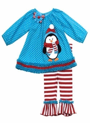 Girl's Christmas Outfits : Turquoise Penguin Applique Legging Set