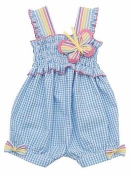 Rare Editions Turquoise Seersucker Romper - Out of Stock