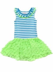 Rare Editions Turquoise Striped Lime Ruffle Dress SIZE 5 LAST ONE