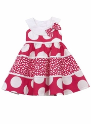 Rare Editions - White Fuchsia Mixed Tiered Dress - sold out