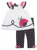 Rare Editions White Dot Ladybug Capri Set