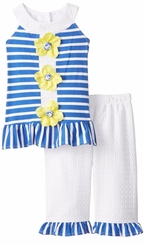 Rare Editions Yellow Button Flower Blue and White Eyelet Pant Set