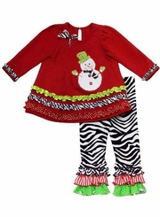 Girls Christmas Legging Set : Red Tunic Snowman Zebra Print Girls Pant Set