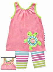 Rare Editions Little Girls  Pink Lime Green Turtle Capri Pant Set