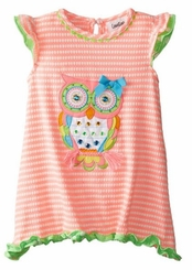 Rare Editions Little Girls Coral White Textured Owl Dress  SALE!
