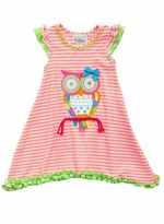 Rare Esitions Little Girls Coral White Textured Owl Dress