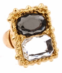 Rectangular Black Glass and Crystal Ring