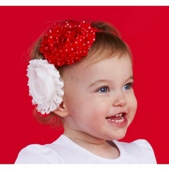 Red and White Double Rosette Headband out of stock