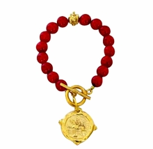 Red Coral Bead Bracelet with Italian Intaglio Equestrian Charm