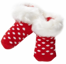 Red Dot Fur Cuff Baby Socks - SOLD OUT