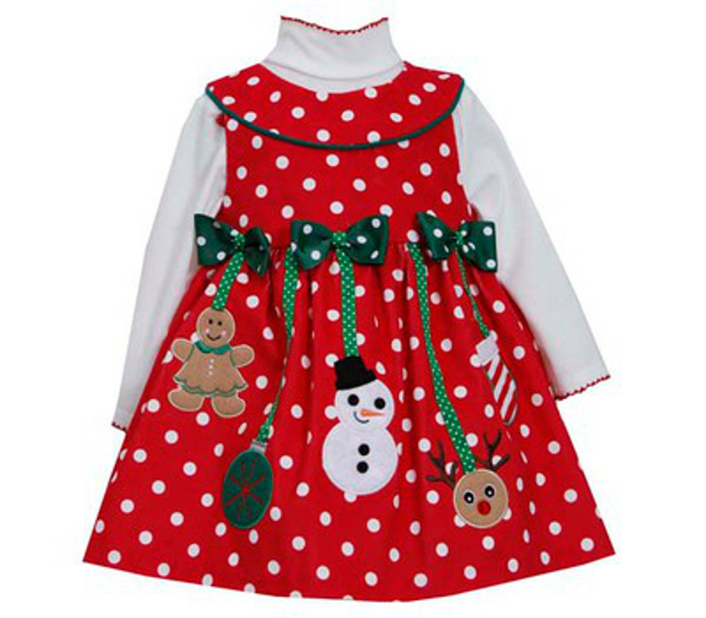 Infant and toddler girls christmas dress red dot hanging ornaments