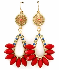 Red Marquise Shape Drop Earrings
