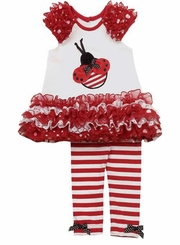 Red Mesh Ladybug Legging Set 24 months Last one