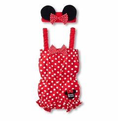 Red Minnie Mouse Inspired Infant Coverall with Headband - Out of Stock