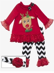 Pretty Eye Red Reindeer Baby Girls Holiday Pant Set with Headband
