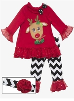 Red Reindeer Chevron Holiday Pant Set with Headband