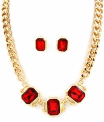 Red Rhinestone Square Gold Tone Statement Necklace