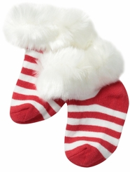 Red Striped Fur Cuff Baby Socks - SOLD OUT