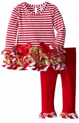Rare Editions Red Striped Holiday Mixed Print Tutu Set
