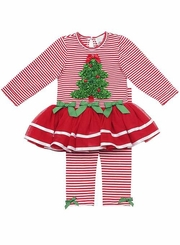 Red Striped Tutu Set With Ruched Tree