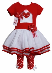 Red Valentine's Xoxo Girl's Legging Set 3-6 months SALE