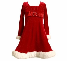 Red Velour Dress with Fur Trim and Buckle