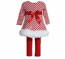 Infant or Girls Red White Chevron Sequined Christmas Tunic Set