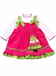 Ribbon Christmas Tree Jumper Dress Set - Hot Pink  12 months Last One