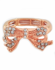 Rose Gold Tone Bow Ring - Stretch Ring