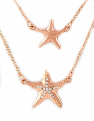 Rose Goldtone Double Starfish Necklace