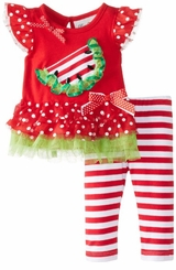 Ruffle Watermelon Stripe Legging Set 6 months - 3T FINAL SALE